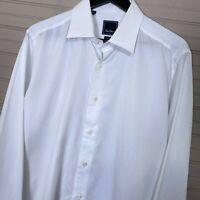David Donahue Trim Fit French Cuff Dress Shirt White Basketweave Men's 17 36/37