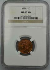 1899 Indian Head Cent NGC MS 65 Red No Reserve Auction - .99C Opening Bid