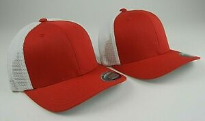#2 TWO MESH FLEXFIT YUPOONG RED BALL CAP HAT