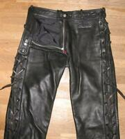 """"""" Hein Gericke """" Red Zip Damen- Leather Jeans Lace-Up Pants Black Approx. Size"""