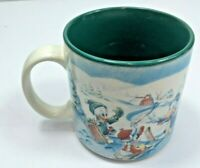 Mickey's Winter Wonderland 1996 Vintage The Disney Store Ceramic Coffee Cup Mug