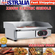 2200w Commercial Electric Griddle BBQ Grill Pan Hot Plate Stainless Steel AU