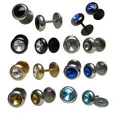 2x Edelstahl Ear Plug Ohrstecker Stud Piercing 8mm schwarz gold blau Fake Plug