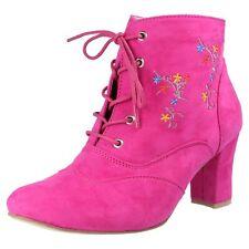 Hirschkogel Damen Auffällige Boots Stiefeletten Trachten Schuhe Oktoberfest Pink