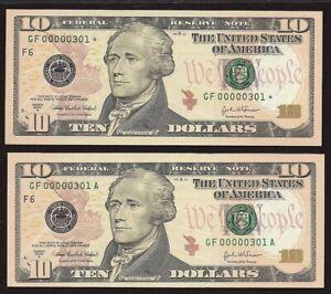 2004A $10.00 FRN GF00000301*/301A MATCHING PAIR *GEM-CU*