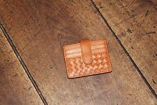 Kreditkarten-Etui Leder Kartenetui Brieftasche Cognac Geflochten Geldbörse Mini