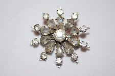 Silvertone Diamante Rhinestone Sun Flower Round Brooch Pin Costume Jewellery
