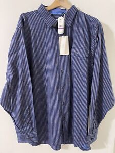 TOMMY BAHAMA Men's Vista Lago Stripe SHIRT Sz (XXL) 2XL Ocean Deep NWT $125