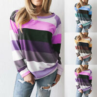 Women Casual Loose Striped Pullover Sweatershirt Fashion Casual Long Sleeve Tops