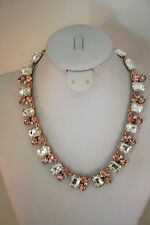 Charter Club rose gold tone large clear & rose rhinestone collar necklace
