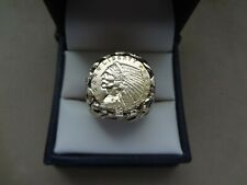 1909 INDIAN HEAD 2 1/2 DOLLAR COIN IN TEXTURED 14K GOLD RING - SIZE 9