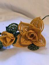 Handmade Beaded Yellow Rose Bud Leaves Mother's Day Anniversary Glass 11/0