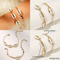 2Pcs Bohemian Women Beaded Shell Anklet Bracelet Chain Boho Beach Jewelry Set