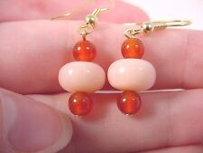 (EE402-1) Pink Peru opal Orange carnelian 14 & 6 mm dangle gold hook earrings