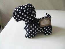 New Scottie Terrier Black White Polka Dot Dog Doorstop Shelf Decor Weighted NWT