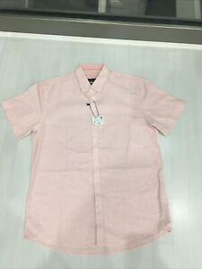 Zara Man Light Pink Stripy Summer Short Sleeve Shirt Large Regular Fit. BNWT