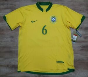 Brazil Soccer Jersey Football Shirt #6 Nike 100% Original 2006 World Cup Home L