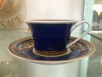 VERSACE LOW BLUE MEDUSA TEA CUP & SAUCER  ROSENTHAL  NEW IN BOX