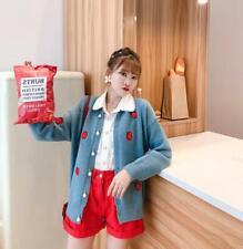 Womens Korean Fashion Sweet Coat Strawberry Cardigan Sweaters Coat Outwear