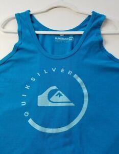 Quiksilver Women's Graphic Tank Top XXL 2XL Blue Scoopneck Logo Spellout Cotton