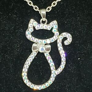 Rhinestone Cat Pendant Necklace Bow Tie Kitty Silhouette Chain Adjustable Long