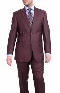 Mens 70R Vitali Classic Fit Solid Burgundy With Subtle Sheen Two Button Suit