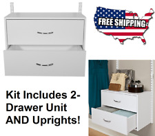 Rubbermaid HomeFree Closet System Storage White Wood 2-Drawer Unit Organizer Kit