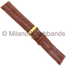 20mm Milano Genuine Leather Brown Double Padded Stitched Mens Watch Band