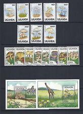UGANDA 1989 1991 MUSHROOMS CHAMPIGNONS (2 sets complete) VF MNH