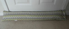 Draught Excluder Handmade Cotton Fabric Lime Green Grey Beige Cream Zig Zag