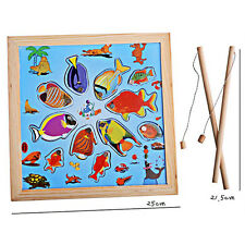 Magnetic Fishing Game Wooden Toy with Fishing Rod for Kids Children Bath Toys