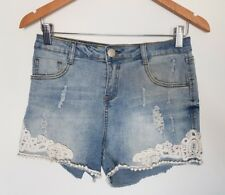 Ally Size 10 Womens White Crochet Lace Distressed Denim Shorts Stretch Casual