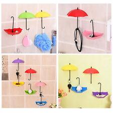 3pcs Creative Umbrella Key Holder Wall Hook Hanger Hair Pin Organizer Decor