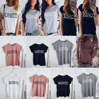 Women's Summer Short Sleeve Shirt Blouse Tops Loose T-Shirt Casual Tee Tops