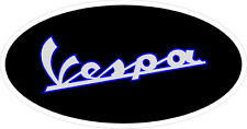 "#822 (1) 3.5"" Vespa Scooter Oval Vintage Logo Decal Scooter Stickers LAMINATED"