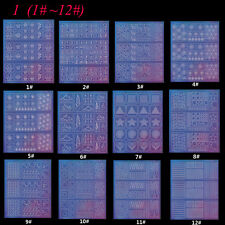 12pcs/set Glass Paper Hollow Nail Vinyls Adhesive 3d Nails Art Stencil STI #1 #12