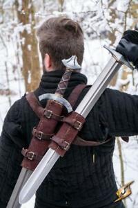 Larp Waffenhalter - Doppel Rückenschwerthalter aus Wildleder  Epic Armoury
