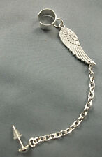 Silver Tone * Guardian Angel Wing * Charm Chain Ear Cuff  Clip Stud Wrap Earring