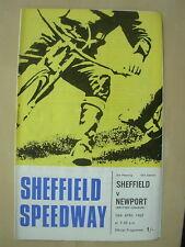 SHEFFIELD v NEWPORT 24th APRIL 1969 SPEEDWAY PROGRAMME