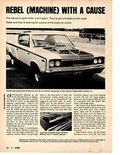 "1970 AMC REBEL ""THE MACHINE"" 390   ~  VINTAGE ORIGINAL 3-PAGE ARTICLE / AD"