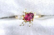 14Kt REAL Yellow Gold 7x5 Oval Pink Tourmaline Gemstone Gem Ring Sz 6.75 EBS99R1