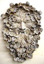 Antique Green man Wall Sculpture Home Garden Decor Mythical Leaf Face