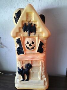 GENERAL FOAM PLASTICS HALLOWEEN HAUNTED HOUSE BLOW MOLD BAT CAT WITCH 32""