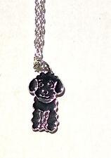 Black POODLE Charm Necklace Enamel Dog Pendant Puppy Women Kids