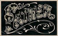 Greetings to Father Many Faces Art Nouveau Postcard - 1906