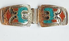 NAVAJO STERLING SILVER CORAL CHIP INLAY THUNDERBIRD WATCH SHOULDERS WATCH TIPS