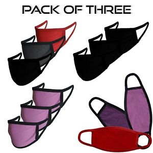 Pack of 3 Face Mask Plain Double Layer Cotton Washable Reusable Face Covering UK