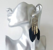 Gorgeous boho vintage gold tone & black feather dreamcatcher style drop earrings