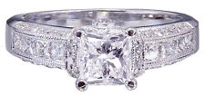 Cut Diamond Engagement Ring Deco 1.75ctw Gia H-Si1 14K White Gold Princess