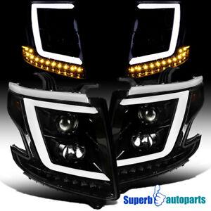 For 2015-2020 Tahoe Suburban Polished Black Projector Headlights+Signal